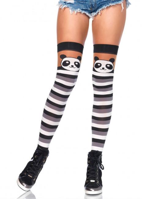 Randiga Lårhöga Strumpor med Pandamönster