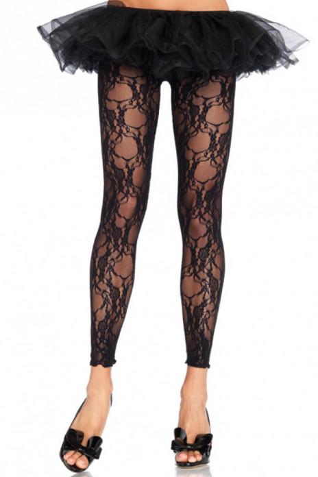 Leggings i Blommig Spets One Size