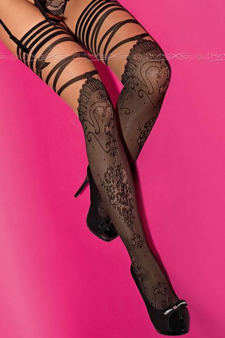 Lyxiga Stockings i Spets med Motiv av Blommor S/M-L/XL