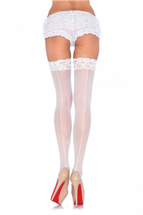 Sheer Lace Stockings - White