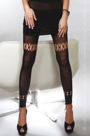 Svarta Leggings med Unikt Mönster One Size