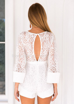 Xenia lovely lace playsuit XS-M vit