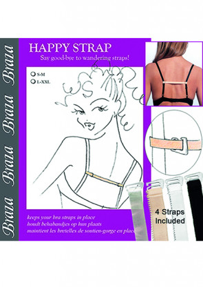 Braza Happy strap 4-pack beige, svart, vit, clear