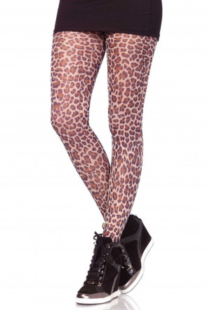 Leopardmönstrade Tights One Size