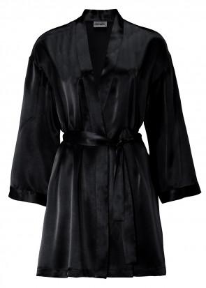 Damella morgonrock silke XS-XL svart