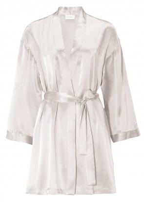 Damella morgonrock silke XS-XL vit