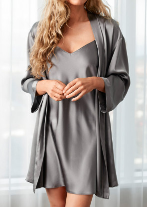 Damella morgonrock silke XS-XL grå