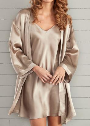 Damella morgonrock silke XS-XL beige