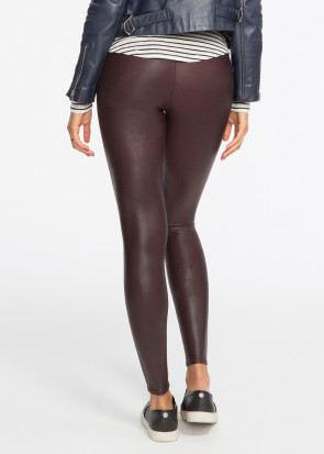 Spanx Deep Garnet faux leather leggings S-XL vinröd