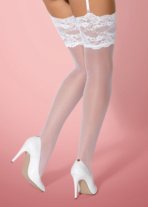 Stockings med spetskant S/M-L/XL vit