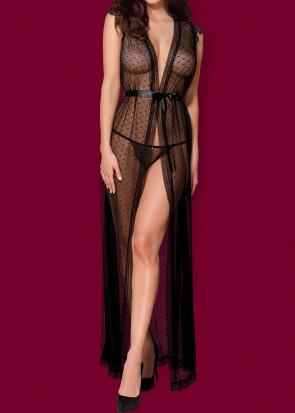 Elegant peignoir och stringtrosa S/M-L/XL svart